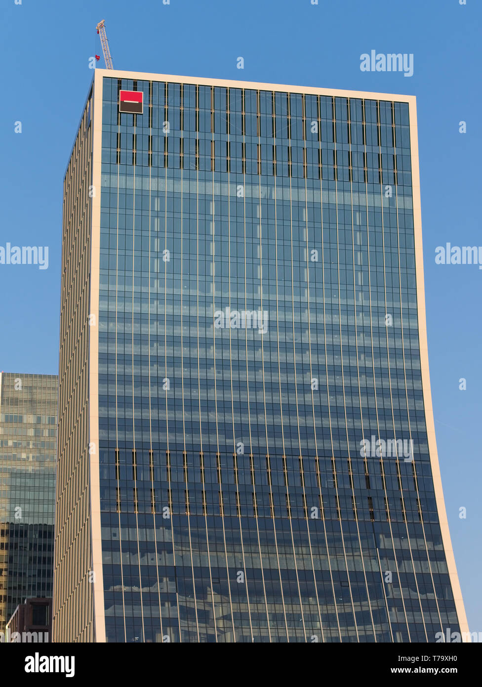 Facade of 5 Bank Street office building, Canary Wharf, London, - Stock Image