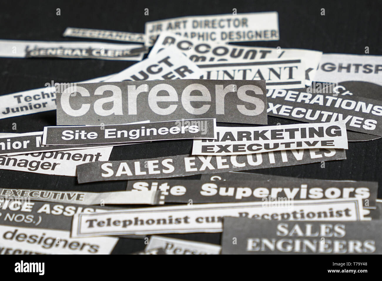 Jobs or careers concept: multiple job titles or occupations cut off from newspaper with Careers on top of the pile and on black background - Stock Image