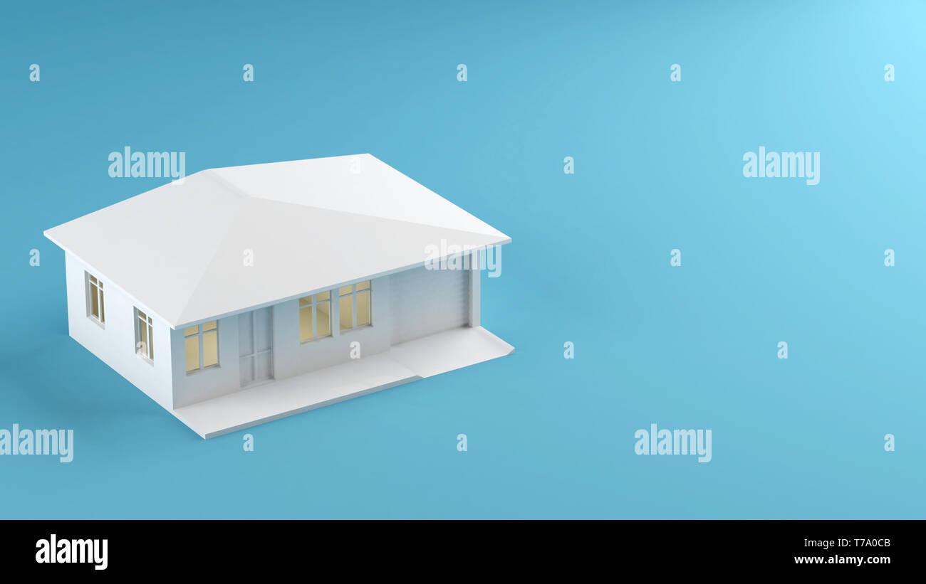 House model on blue background 3d illustration - Stock Image