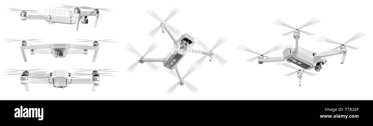 Set of white drone with twirled propellers isolated over white background - Stock Image