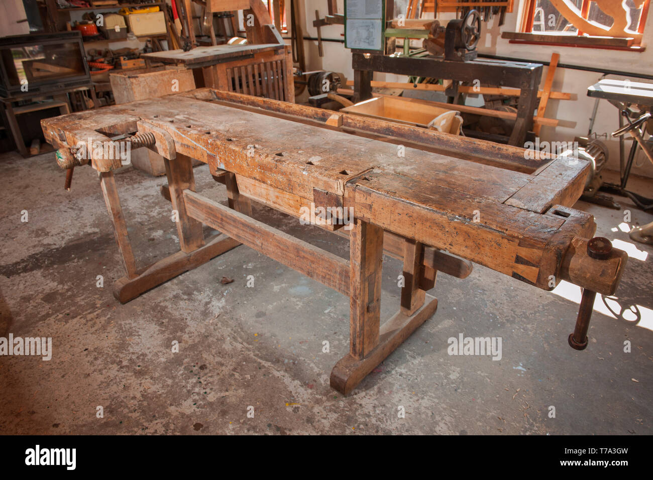 Brilliant Freestanding Workbench In An Old Carpentry Stock Photo Machost Co Dining Chair Design Ideas Machostcouk