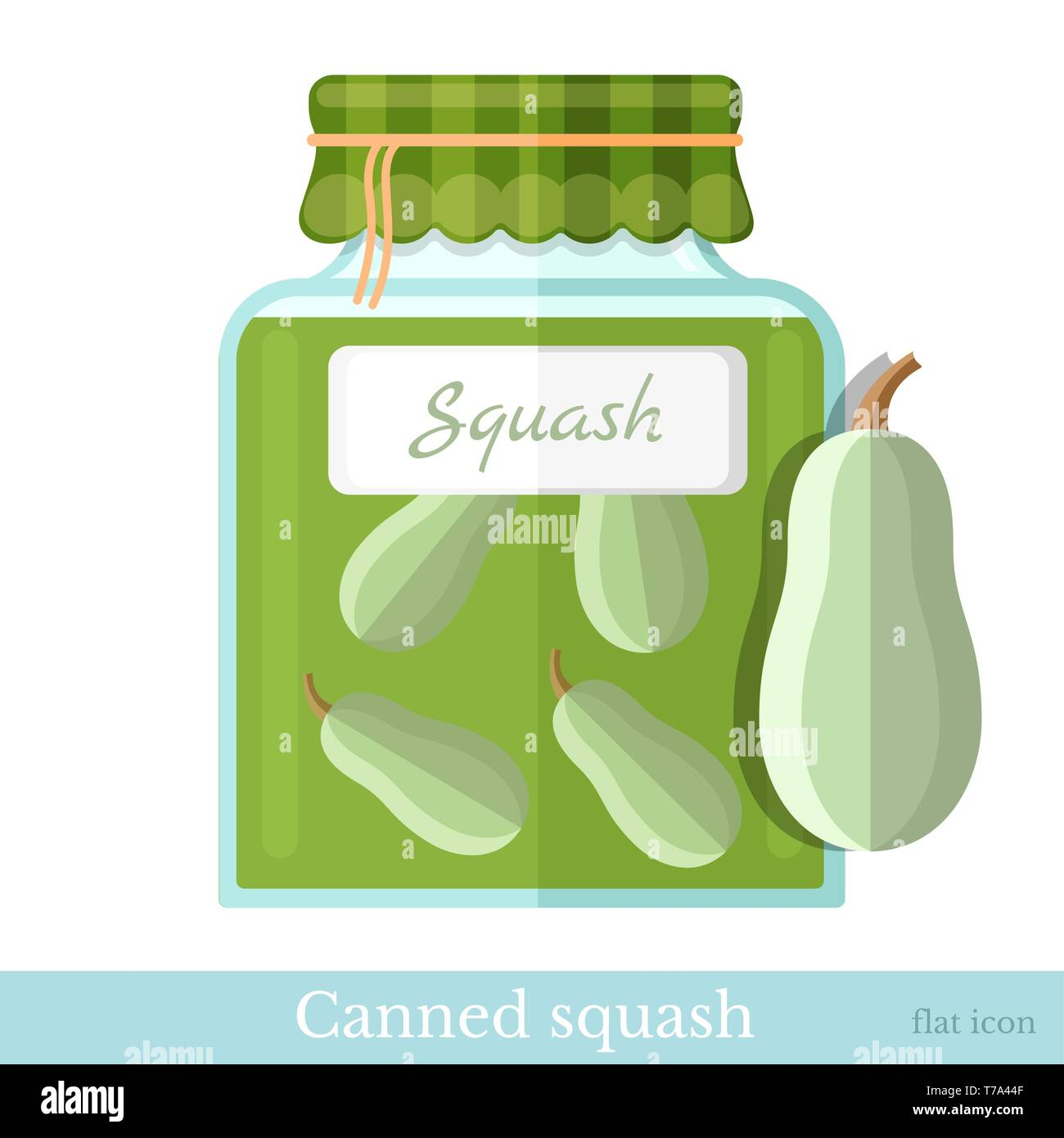 flat icon glass jar of canned squash - Stock Vector