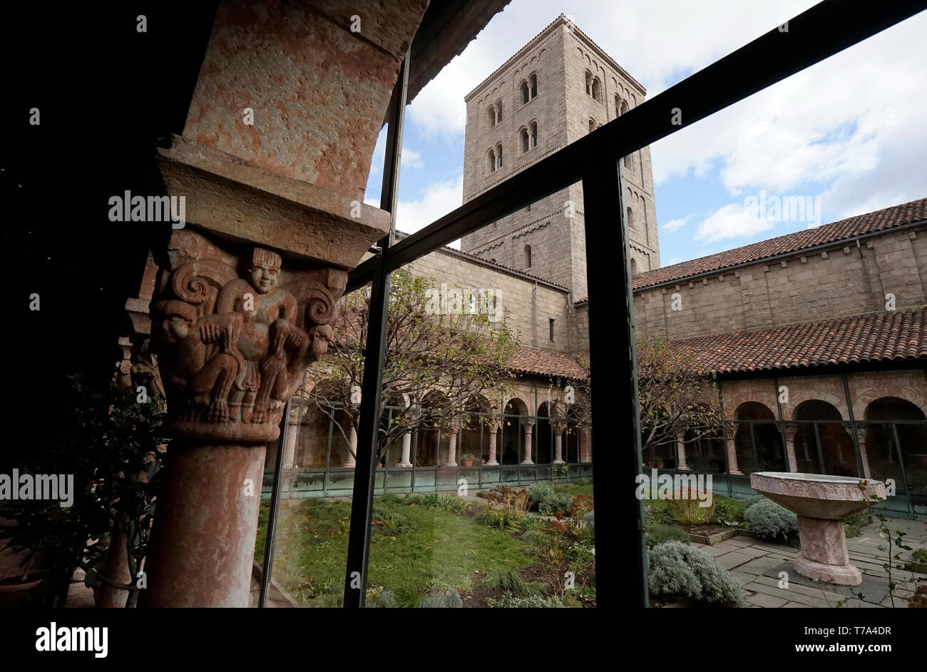 The Judy Black Garden with tower at the Cuxa Cloister.the Cloister museum.Metropolitan Museum of Art. New York City.USA - Stock Image