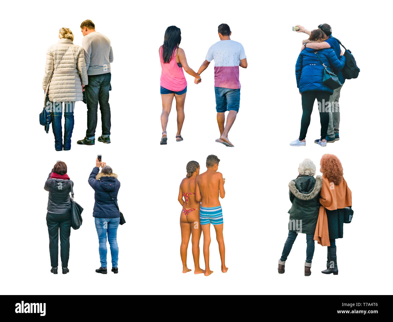 Back view couples photo set isolated on white background - Stock Image