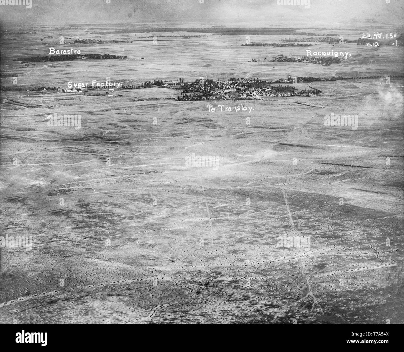 An aerial black and white photograph taken during World War One, showing the effects of bombing by the British Royal Air Force on the small villages of Barastre and Rocquigny in Northern France. - Stock Image