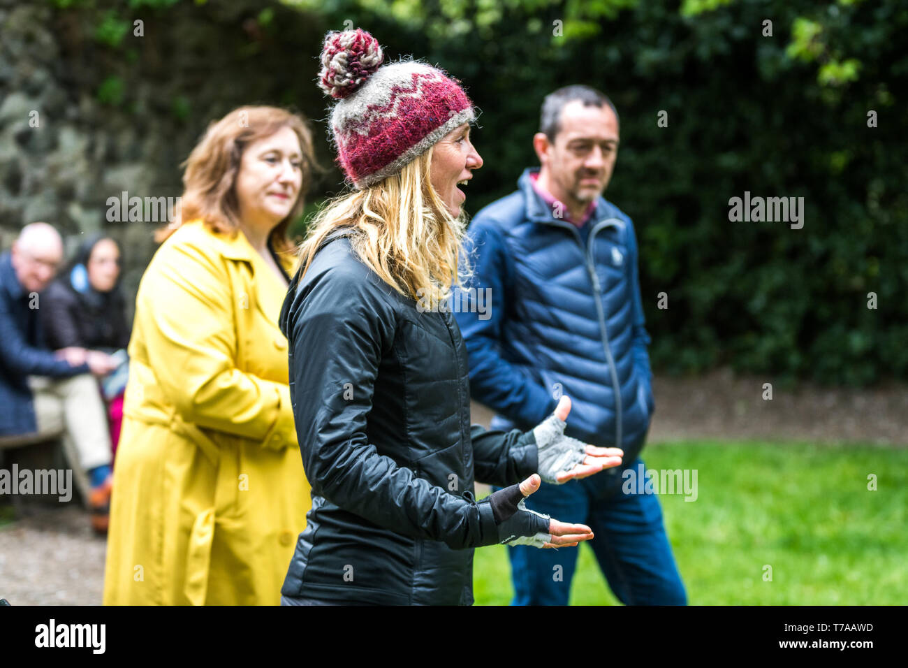 Sun 5 May 2019. Edinburgh, UK. Active Nation Commissioner for Scotland Lee Craigie speaks at Open Streets reception in Dunbar's Garden Close Gardens. - Stock Image