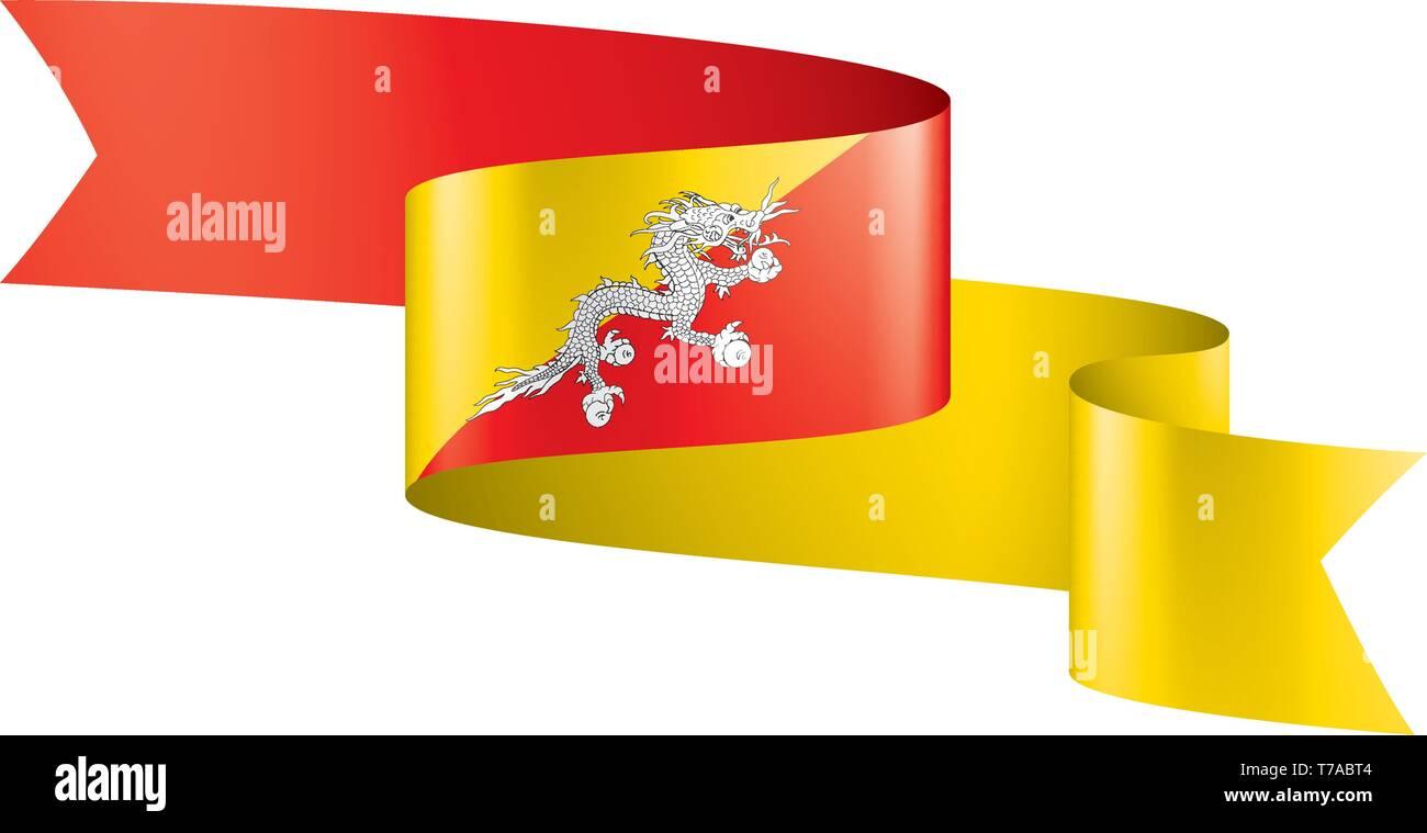 Bhutan flag, vector illustration on a white background - Stock Image
