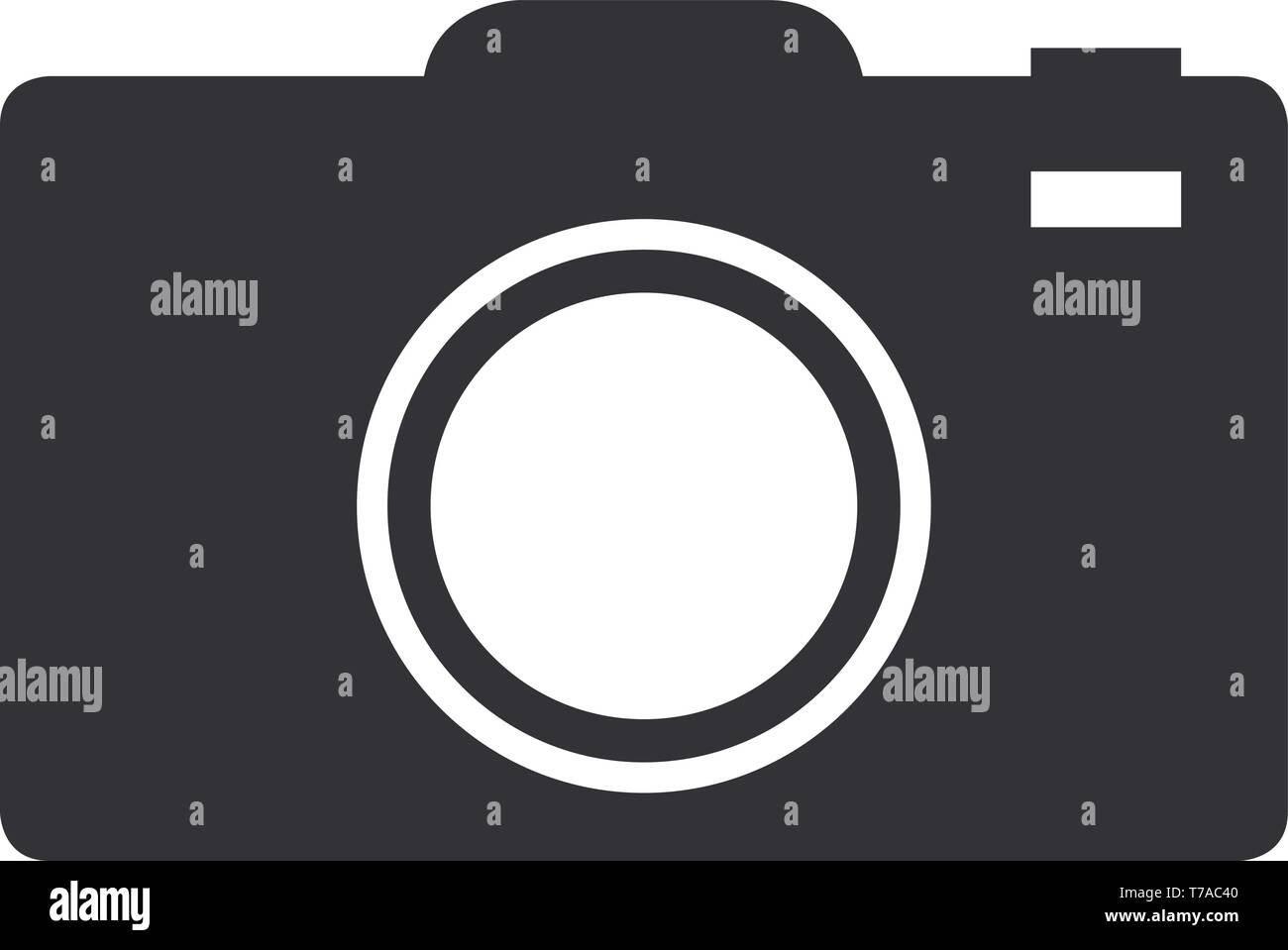 Flat photo camera photography icon or symbol vector illustration - Stock Image