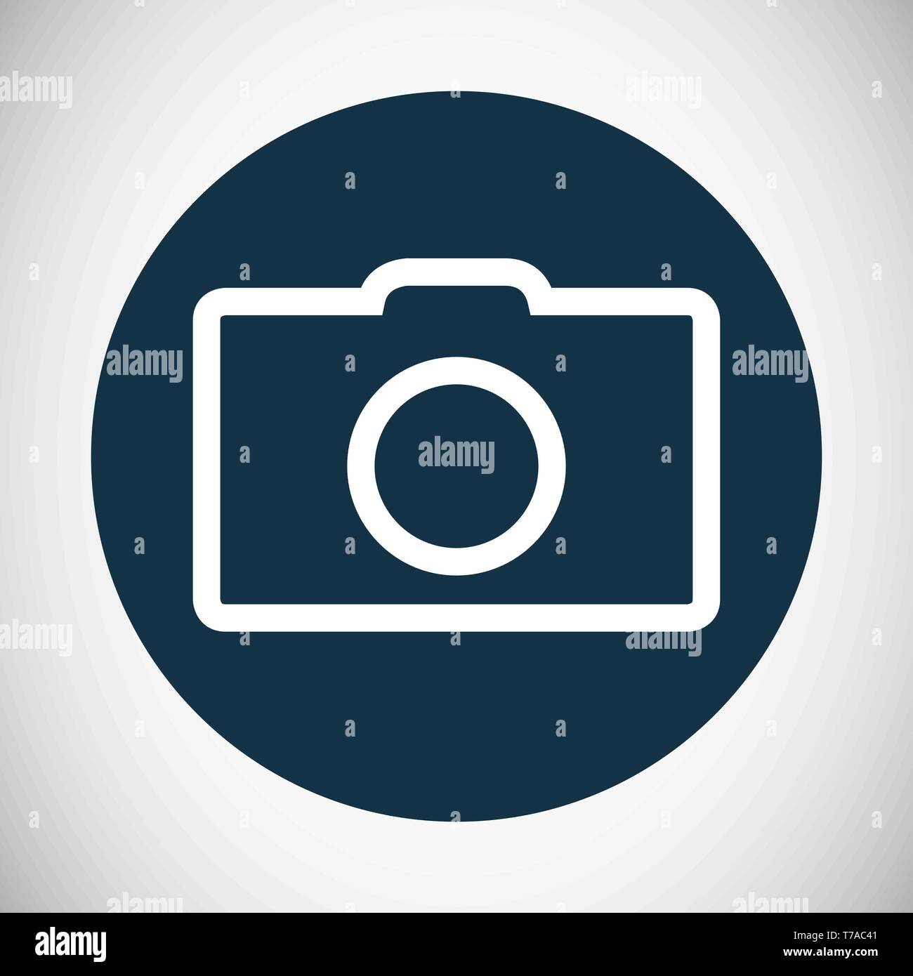 Flat photo camera photography icon or symbol vector line art illustration - Stock Image