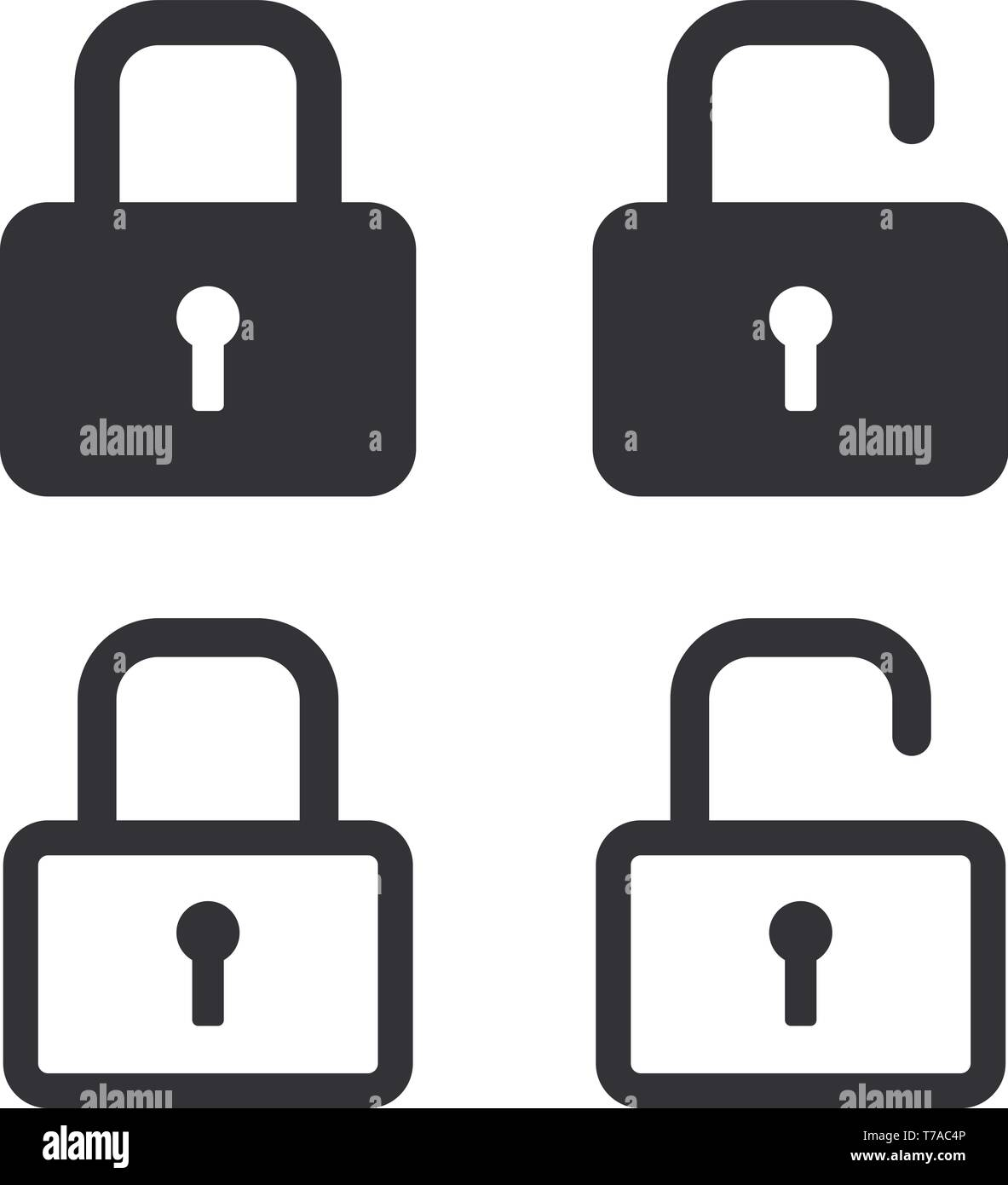 Locked and unlocked version of security locks icons vector illustrations - Stock Vector