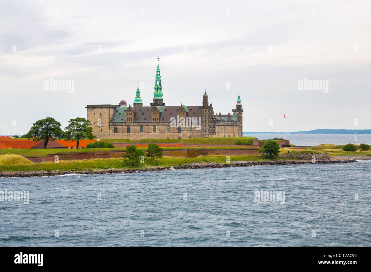 Kronborg Castle on the shore in Helsingor - Stock Image