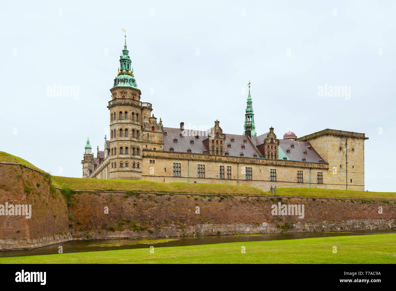 Kronborg castle made famous by William Shakespeare situated in Danish town of Helsingor. Kronborg Castle, unesco world heritage and immortalised as El - Stock Image
