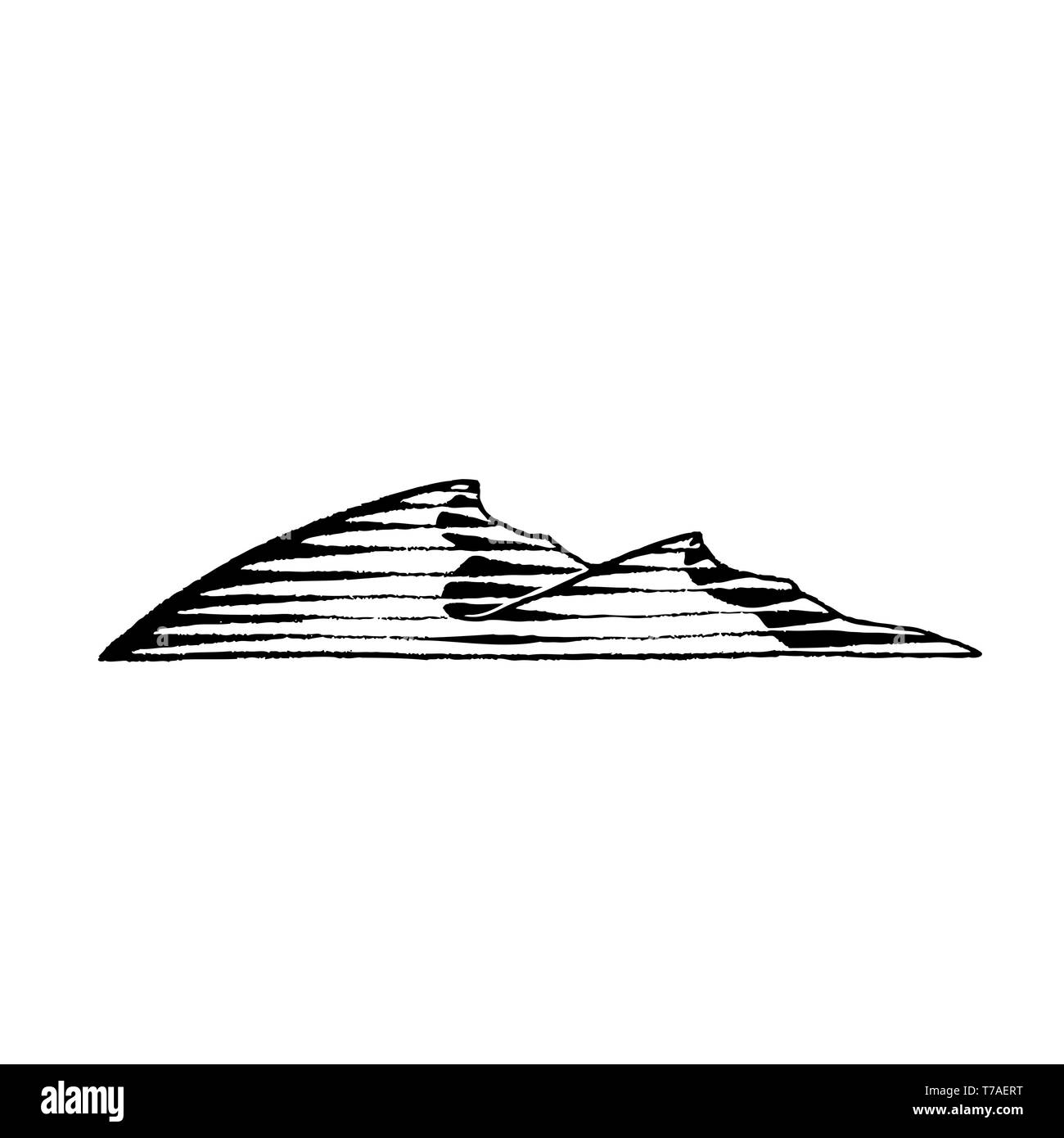 Vector Illustration of a Scratchboard Style Ink Drawing of Sand Dunes - Stock Image