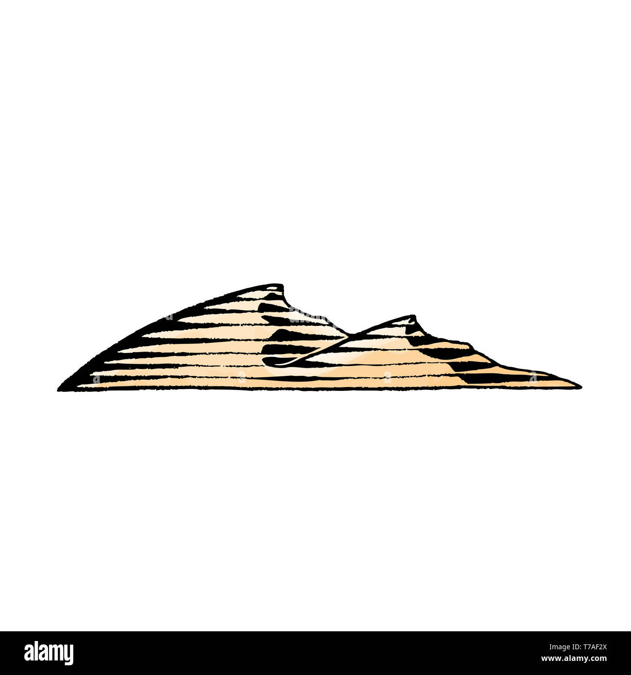 Vector Illustration of a Scratchboard Style Ink and Watercolor Drawing of Sand Dunes - Stock Image
