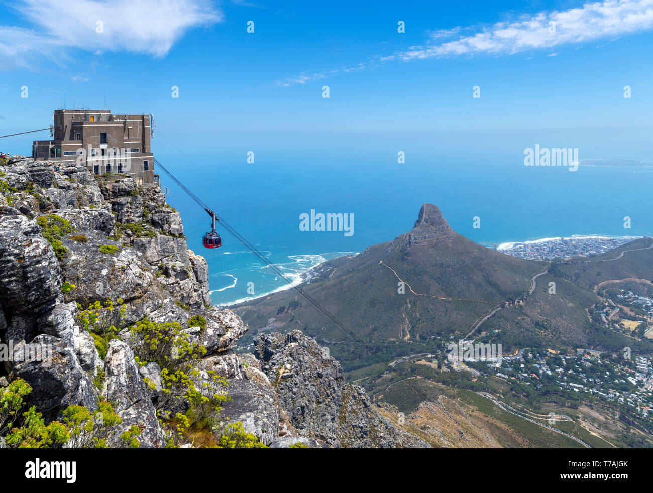 View from Table Mountain with Aerial Cableway in foreground and Lion's Head, Signal Hill and Robben Island behind, Cape Town, South Africa. - Stock Image