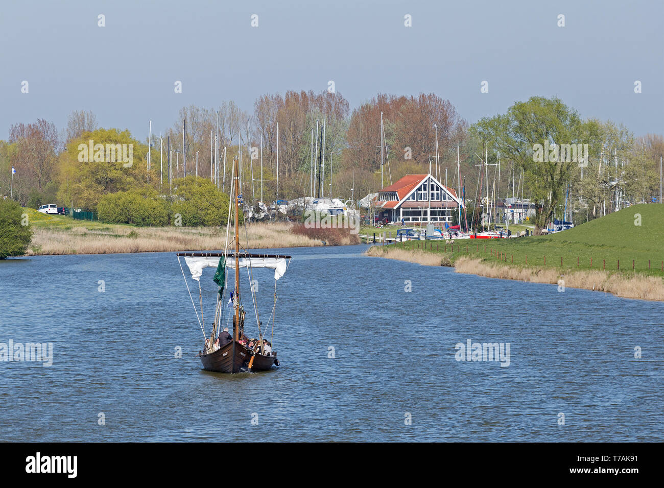 traditional sailing boat leaving the harbour, Hooksiel, Wangerland, Lower Saxony, Germany - Stock Image