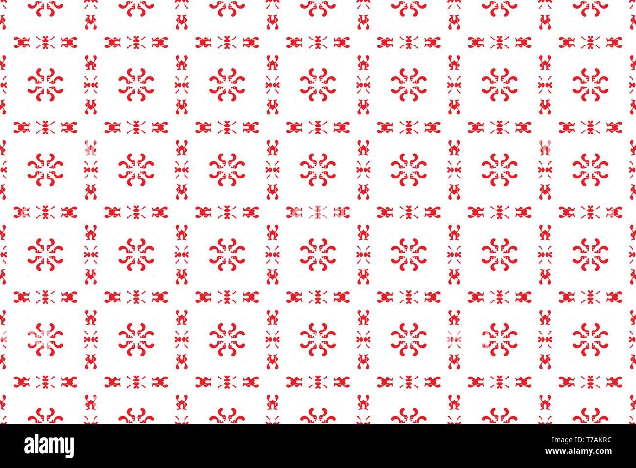 Ukrainian, Belarusian red embroidery seamless pattern - Vyshyvanka - Stock Image