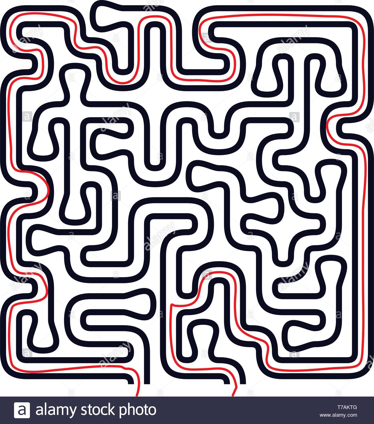 Organic Shape Maze Vector Design. Solving Issues Concept - Stock Vector