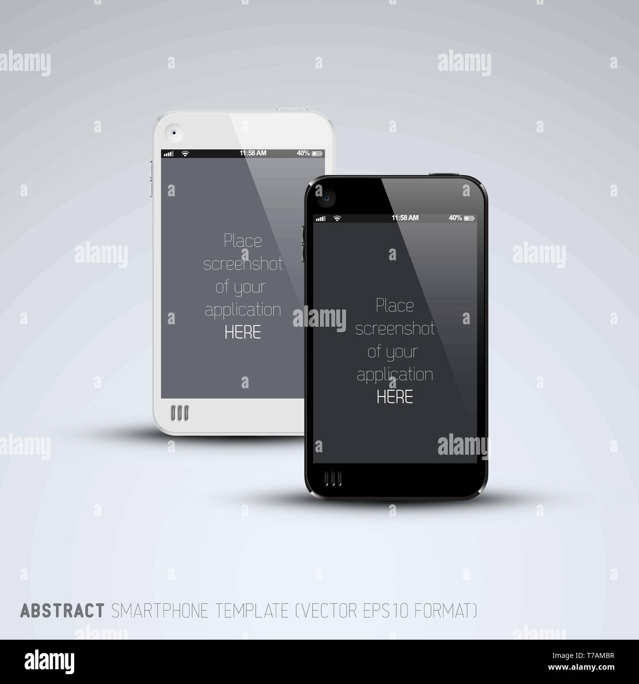 Abstract white and black smartphones template with place for your application screenshot - Stock Image