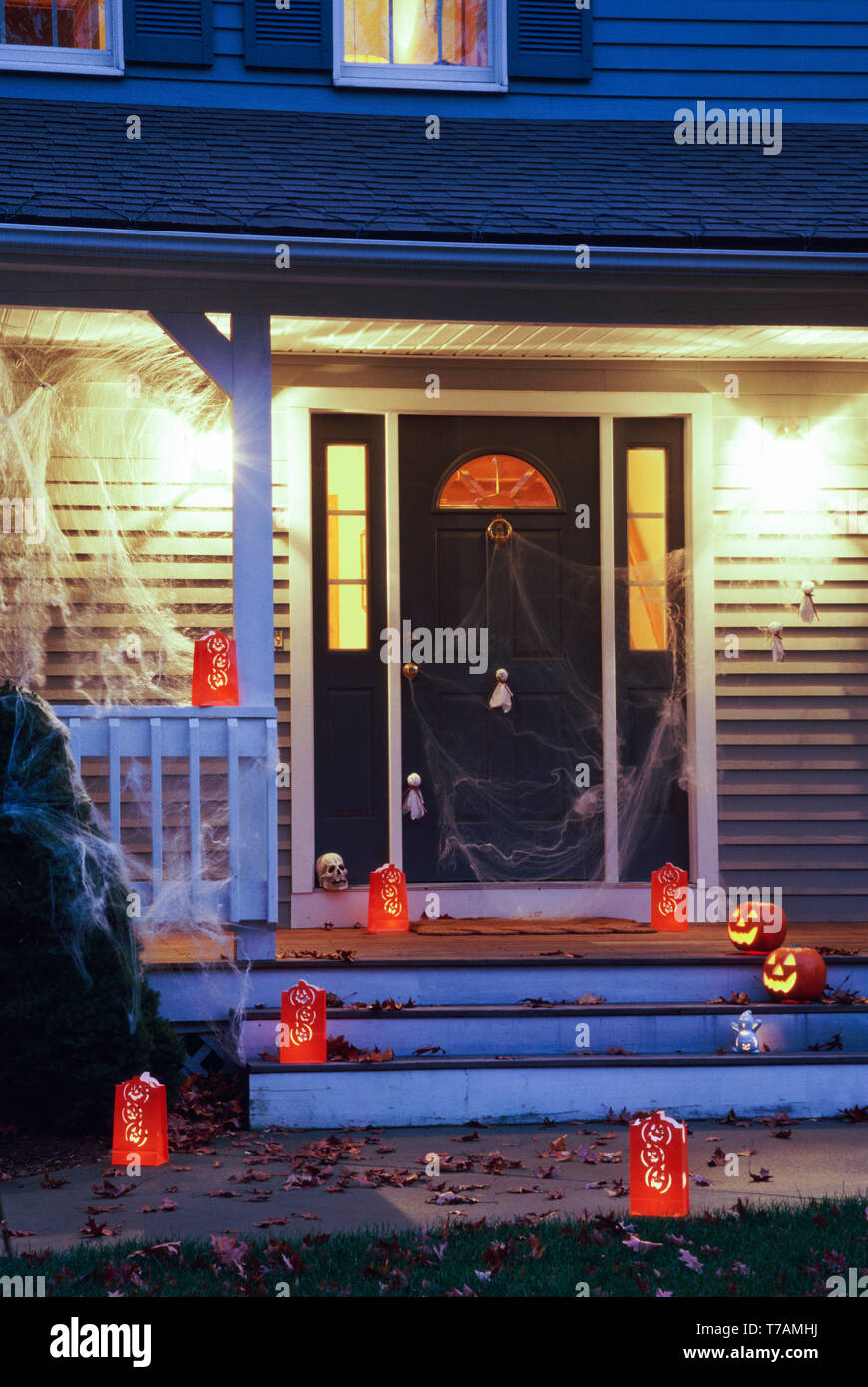 Residential Home has Halloween Decorations on the Front
