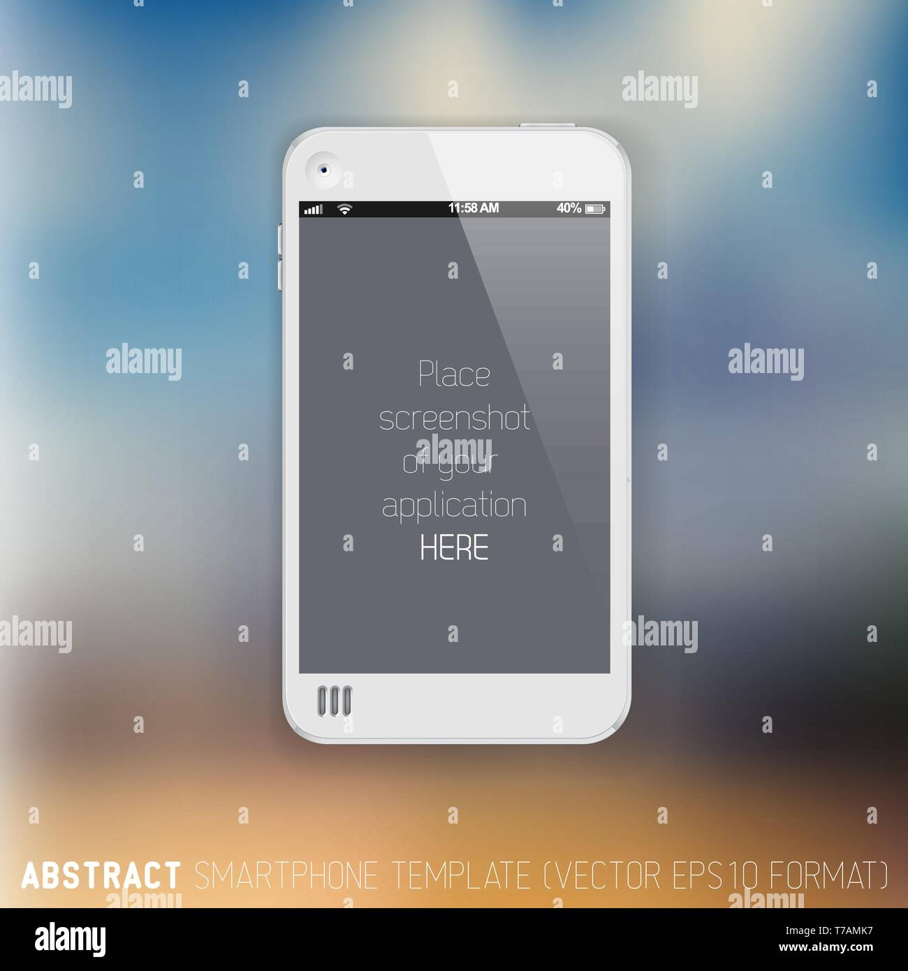 Abstract white mobile phone template with place for your application screenshot on a blurred background - Stock Image