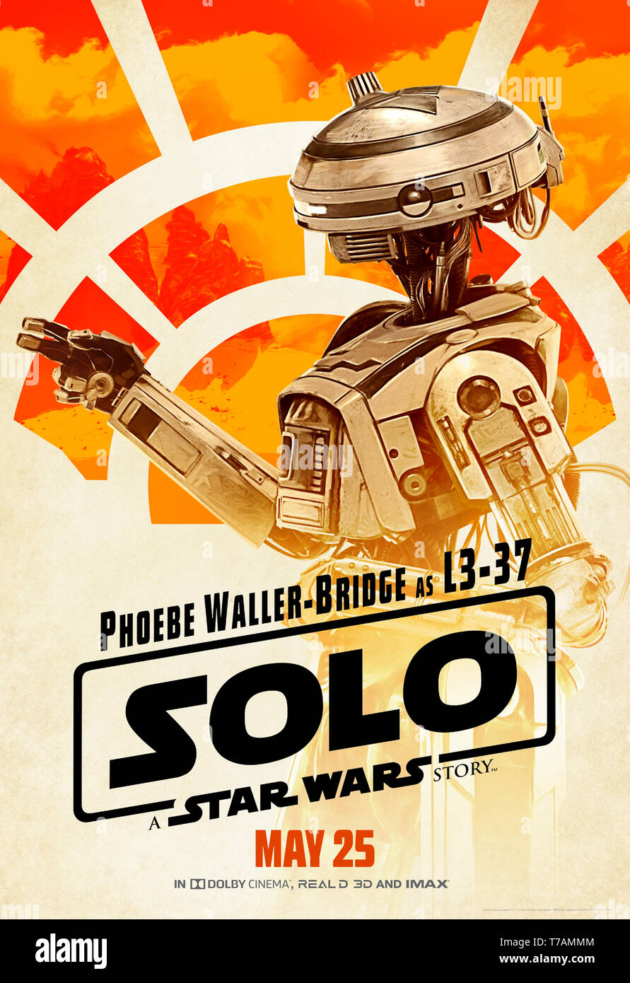 Solo: A Star Wars Story (2018) directed by Ron Howard introducing the  self-made piloting droid L3-37 voiced by Phoebe Waller-Bridge. - Stock Image