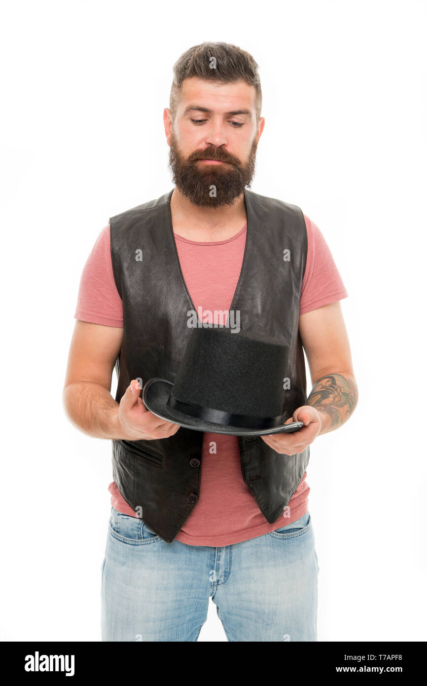Hocus pocus. Magician circus worker. Man bearded guy magician. Magician character. Magician trick performance concept. Circus magic trick performance. Funny entertainment. Street performance. - Stock Image