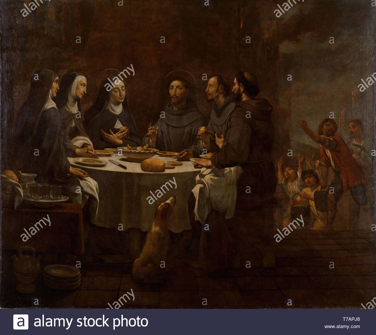 Antoni-Viladomat-Saint Francis and Saint Clare at Supper in the Convent of Saint Damian - Stock Image