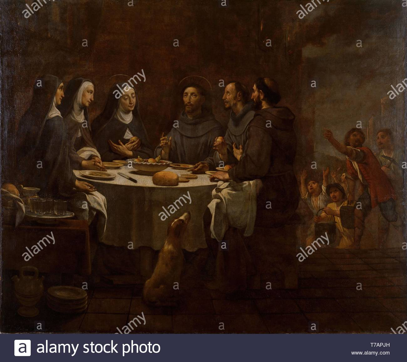 Antoni-Viladomat-Y-Manalt-Saint Francis and Saint Clare at Supper in the Convent of Saint Damian - Stock Image