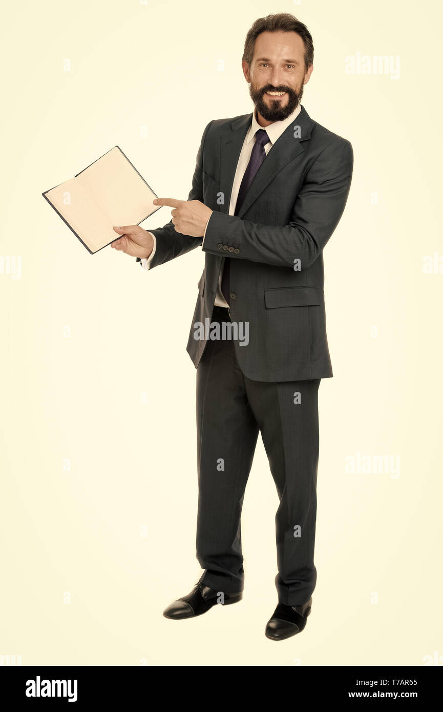 That is task for today. Businessman planning business schedule with notepad. Time management and organizing skill. Man bearded manager face create plan. Successful businessman planning isolated white. - Stock Image