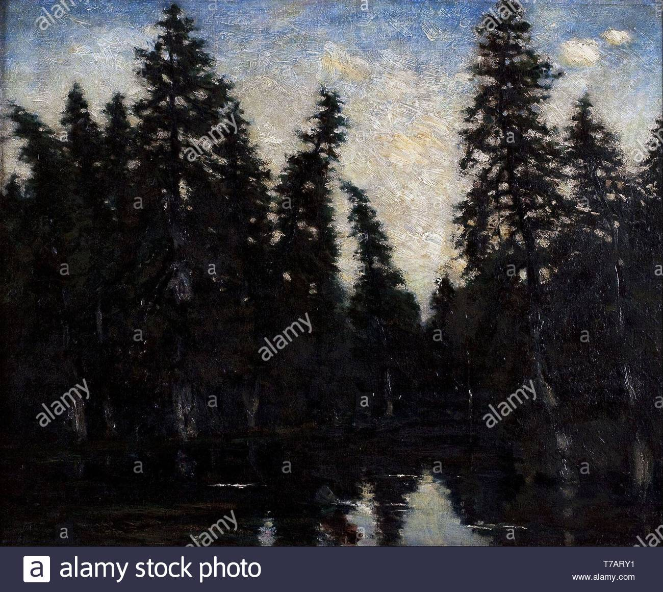 Carl-Fredrik-Hill-The black spruces - Stock Image