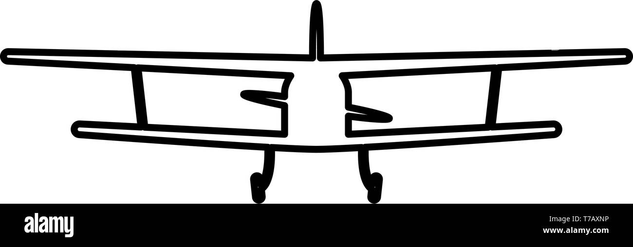 Airplane view with front Light aircraft civil Flying machine icon outline black color vector illustration flat style simple image - Stock Image