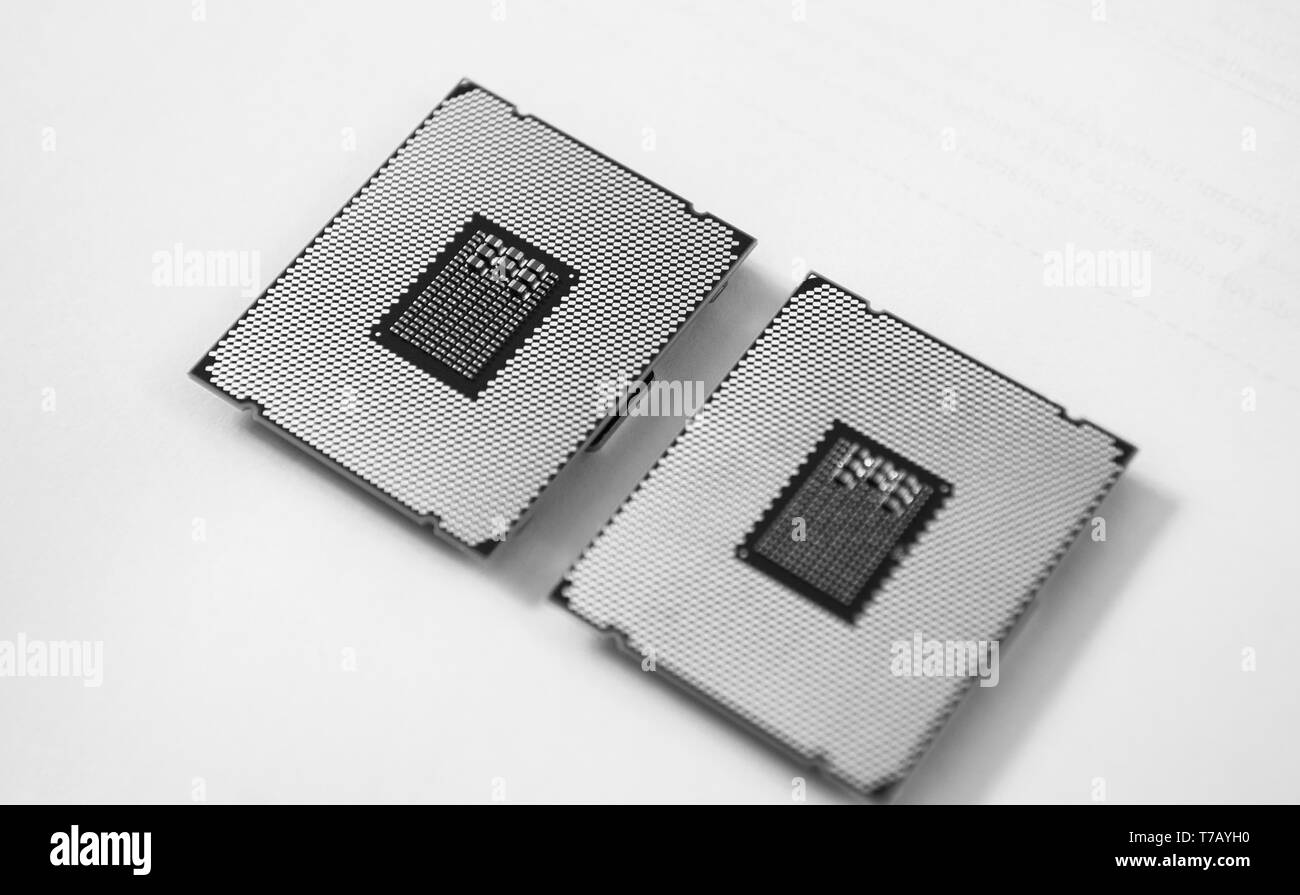 Two new powerful workstation CPU processors before service new computer workstation server isolated white background - Stock Image