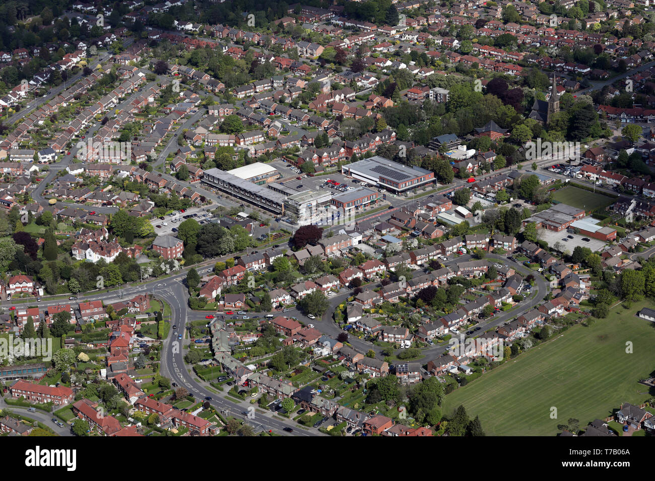 aerial view of shops on London Road South (A523) in Poynton, Stockport, Manchester - Stock Image