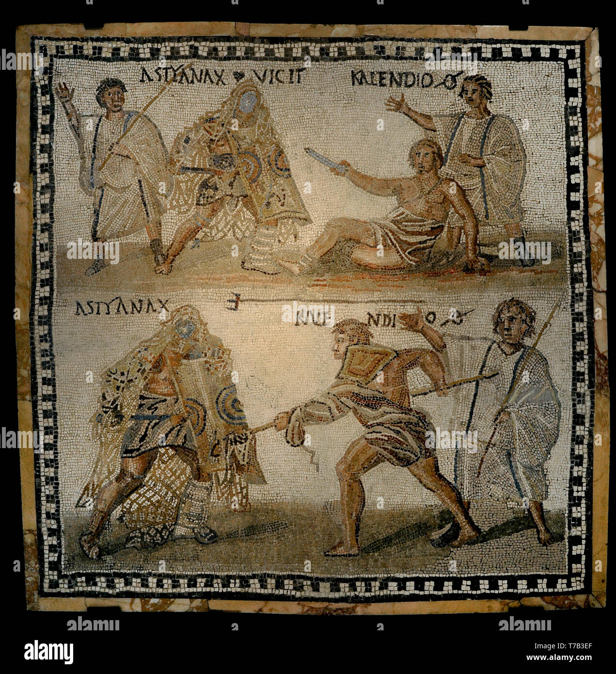 Roman mosaic. Limestones. Secutor versus retiarius. Depiction of the mortal combat between the secutor Astyanax and the retiarius Kalendio. The lanista (gladiator trainer) encourages the combat. Astyanax was the winner (the inscription VICIT appears beside Astyanax). 3rd century AD. From Rome (Italy). National Archaeological Museum. Madrid. Spain. - Stock Image