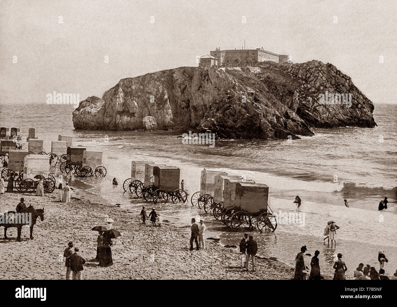 A late 19th Century view of the Palmerston Fort on St Catherine's Island just off Tenby, a walled seaside town in Pembrokeshire, Wales, on the western side of Carmarthen Bay. The town's fortunes rose when a local resident, merchant banker and politician, Sir William Paxton invested heavily in the area. With the growth in saltwater sea-bathing for health purposes, Paxton went on to create a 'fashionable bathing establishment suitable for the highest society. - Stock Image
