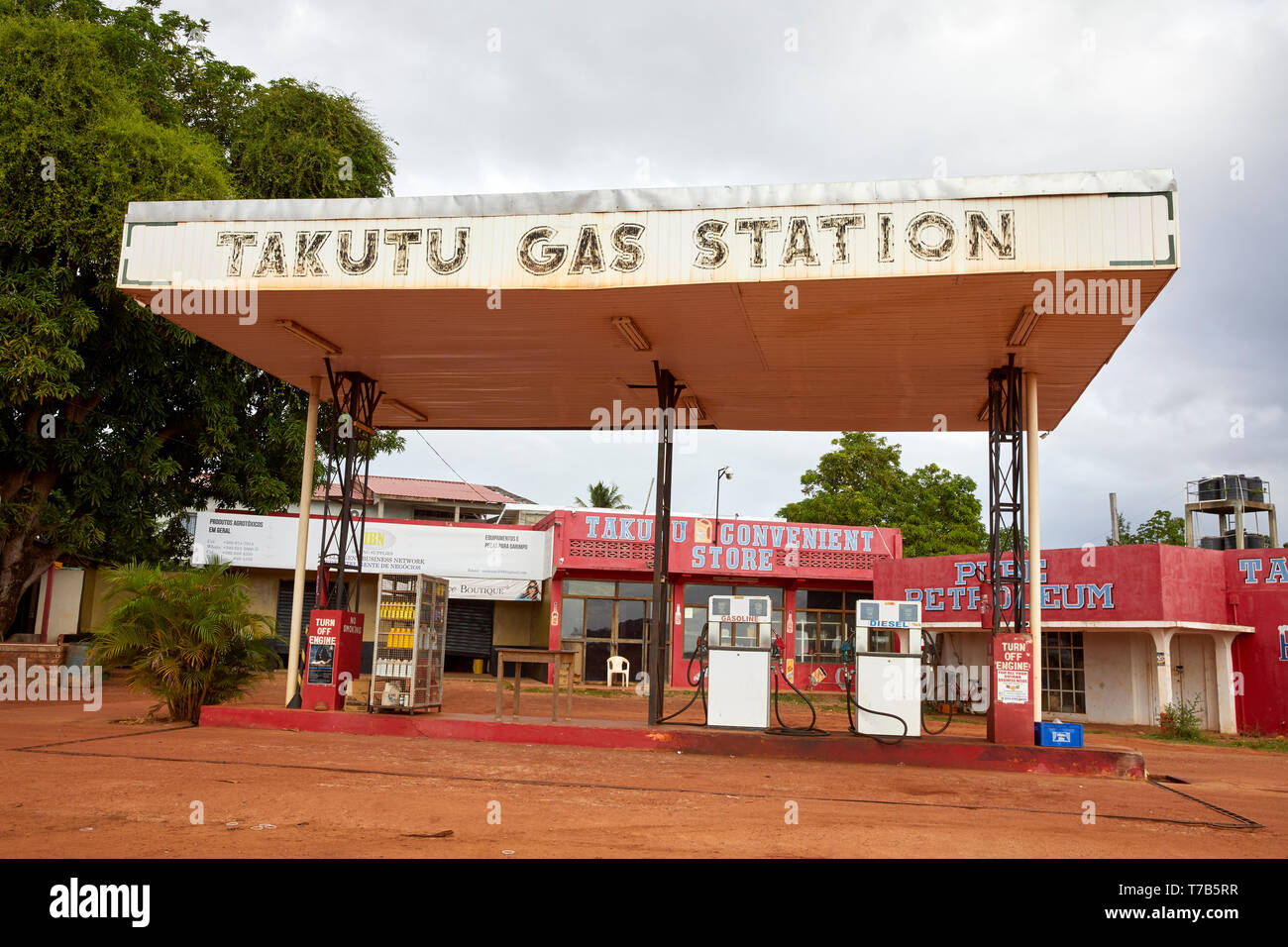 Takutu Gas Station Lethem Guyana South America - Stock Image