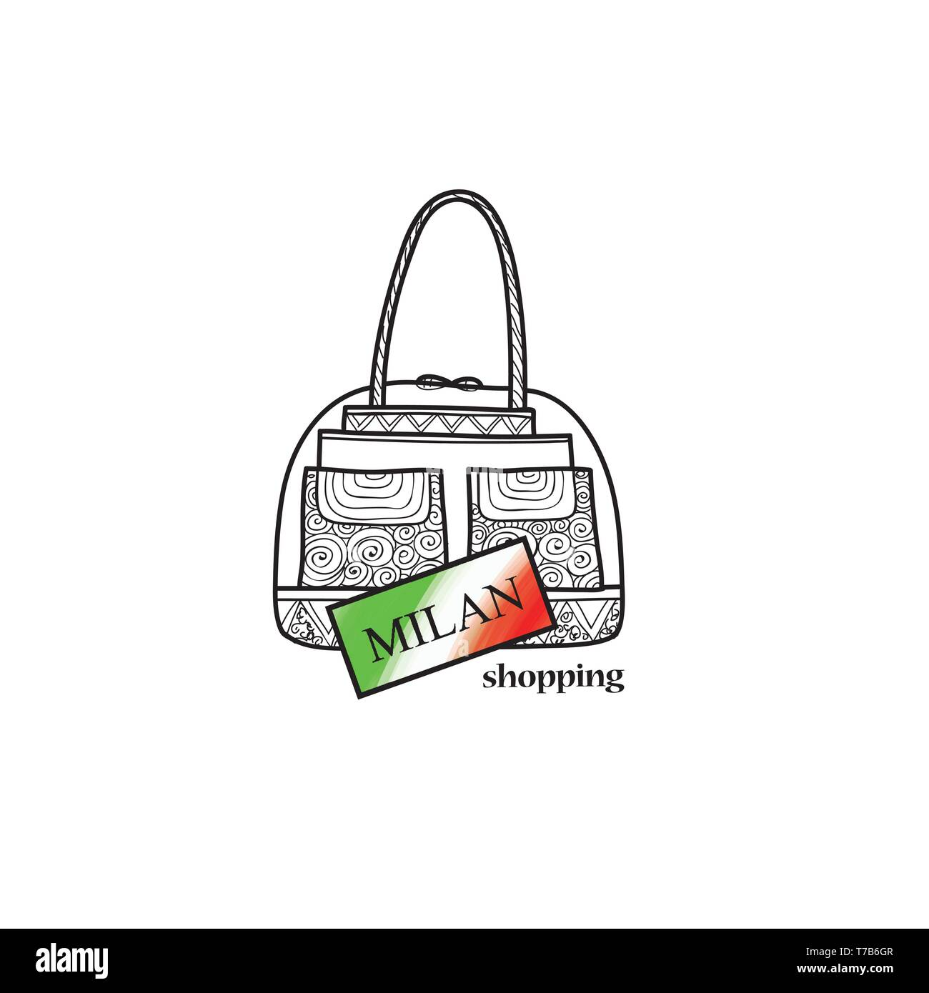 Italy travel sign. Milan city shopping label. Shop bag italian symbol. Fashion icon. Stock Vector