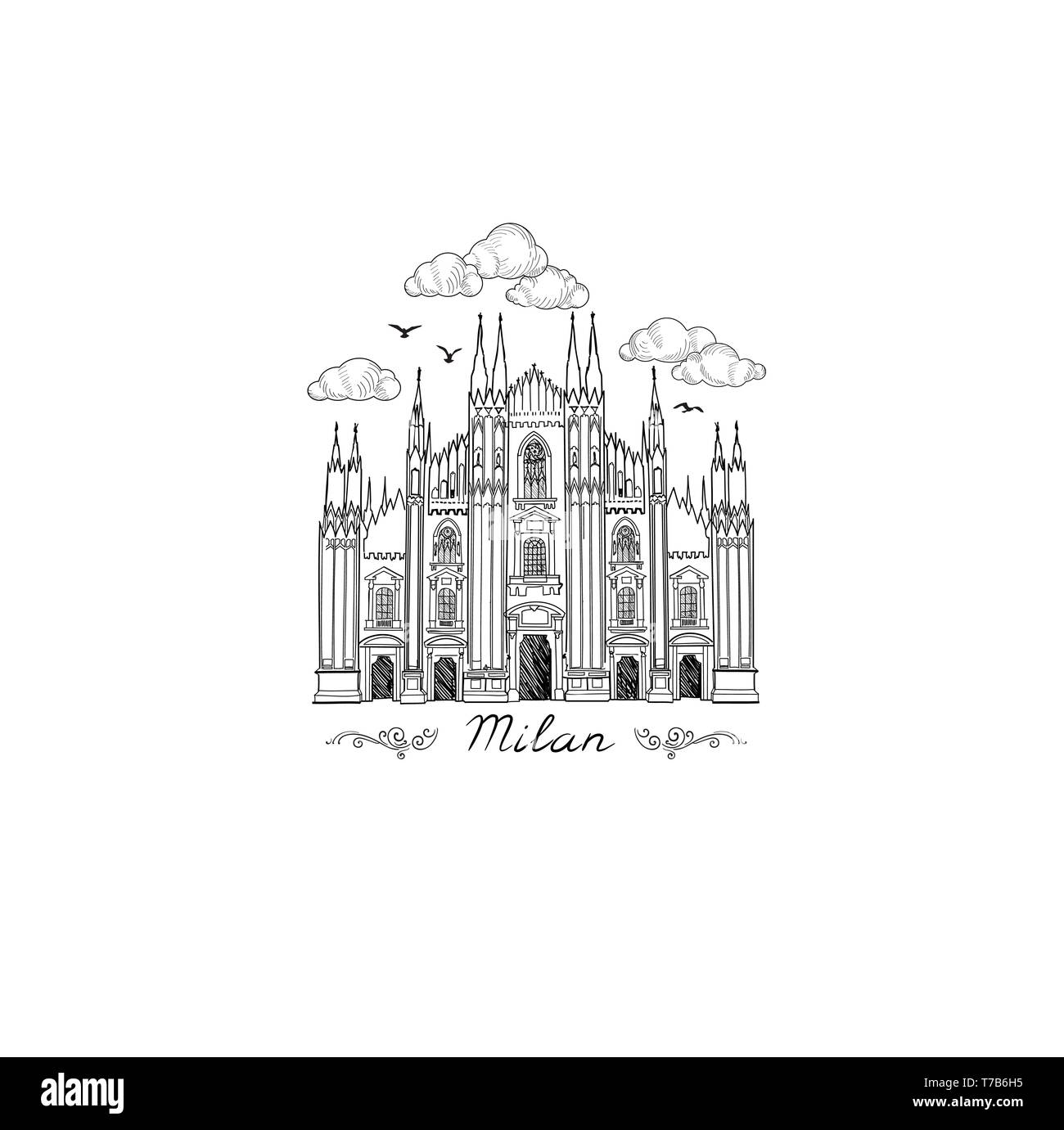 Milan landmark symbol. Travel Italy city icon. Hand drawn sketch. Duomo cathedral in Milan - Stock Vector