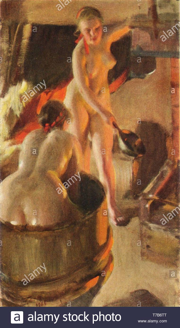 Anders-Zorn-Bathing buns in the saunaGirls from Dalarna in the sauna - Stock Image