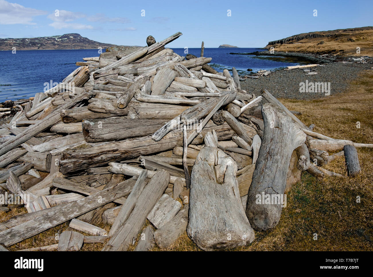 Icelandic Driftwood:  Logs, sticks and branches washed up on the shores of Iceland sit in a stack gathered as a form of small industry. - Stock Image