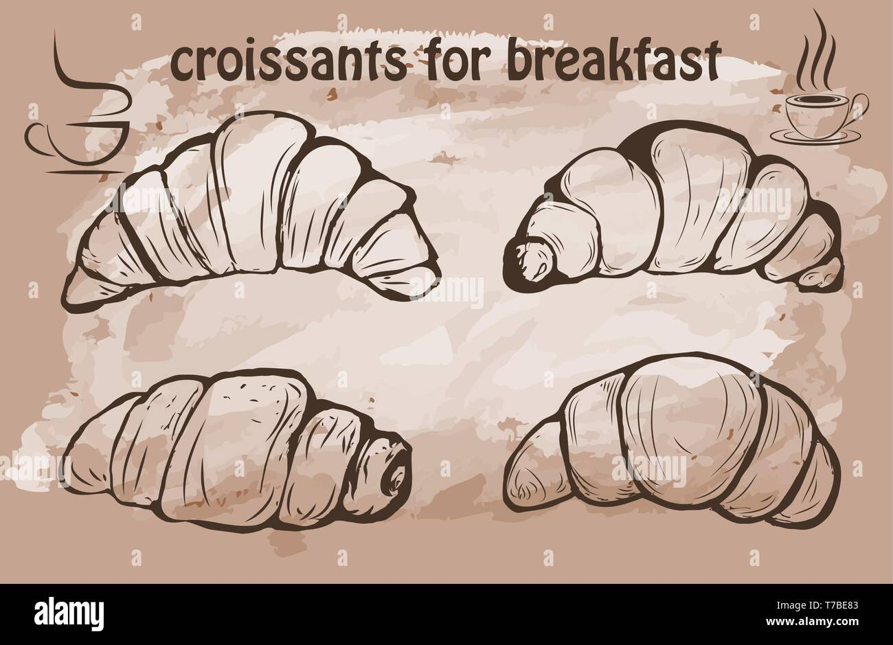 Hand drawn Croissant vector illustration - Stock Image