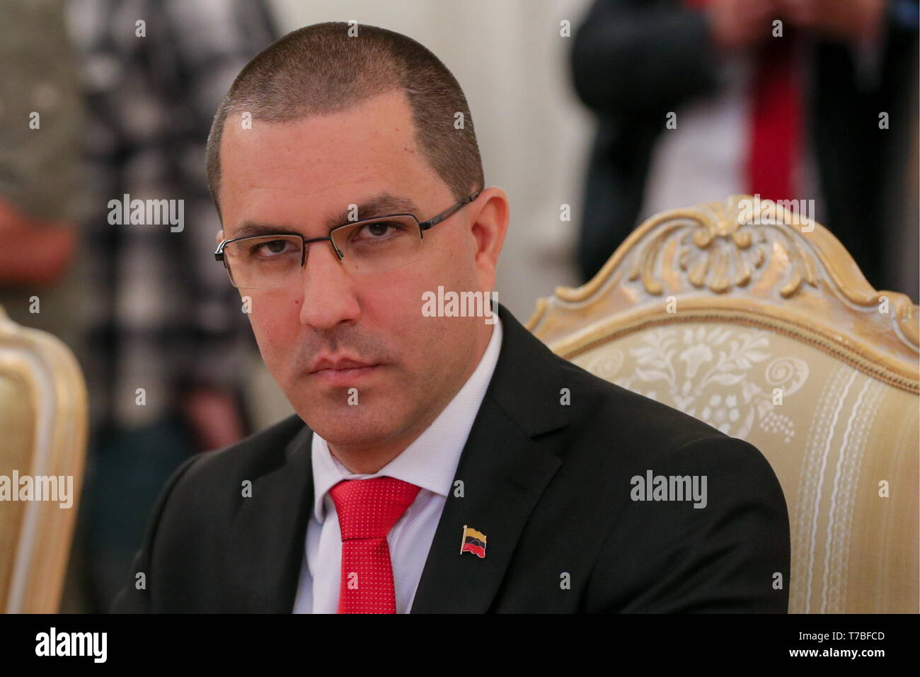 Moscow, Russia. 05th May, 2019. MOSCOW, RUSSIA - MAY 5, 2019: The Foreign Minister of the Bolivarian Republic of Venezuela Jorge Arreaza during a meeting with Russia's minister of foreign affairs at the Reception House of the Ministry of Foreign Affairs of Russia. Vladimir Gerdo/TASS Credit: ITAR-TASS News Agency/Alamy Live News - Stock Image
