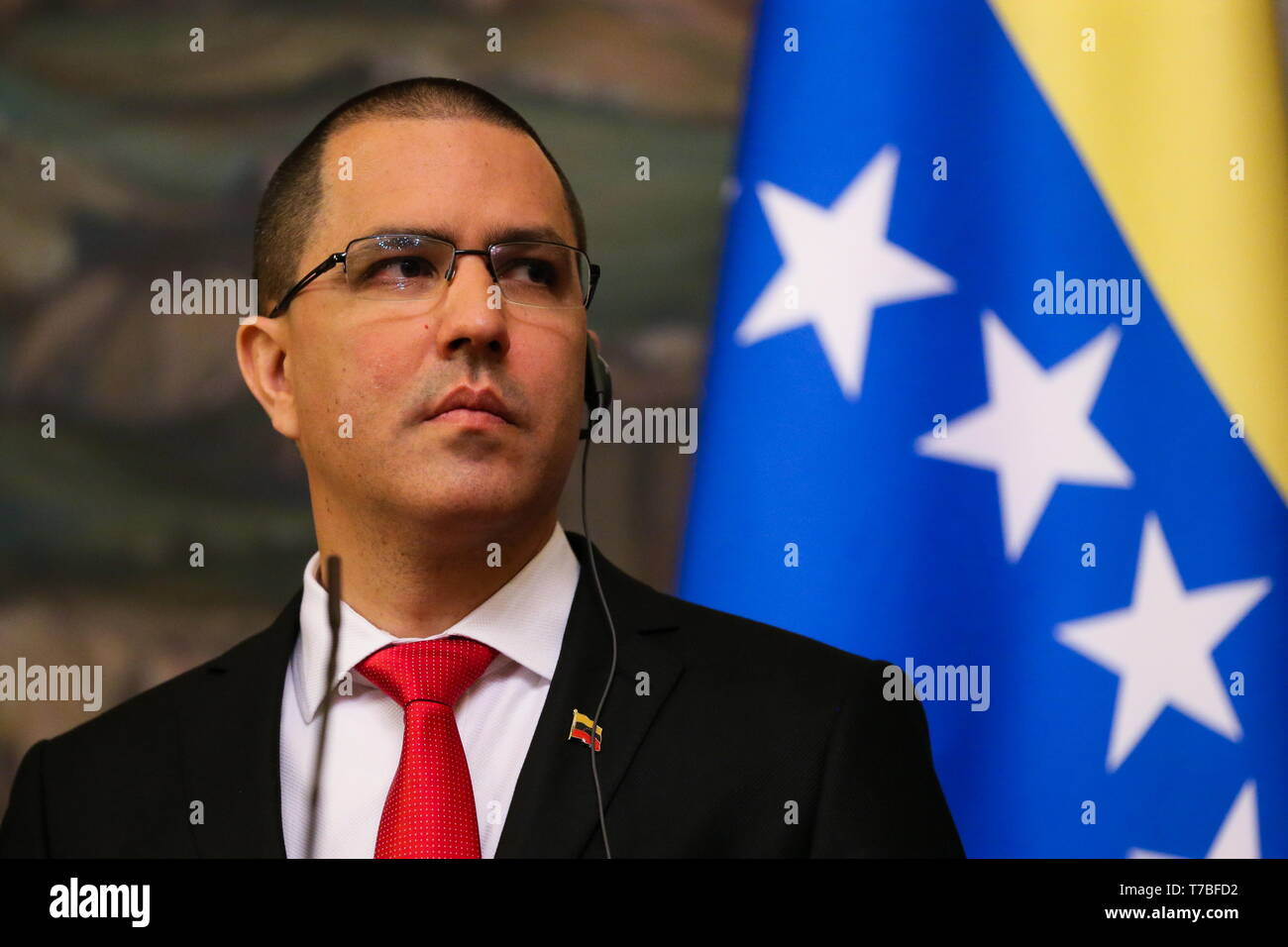 Moscow, Russia. 05th May, 2019. MOSCOW, RUSSIA - MAY 5, 2019: The Foreign Minister of the Bolivarian Republic of Venezuela Jorge Arreaza at a joint press conference after a meeting with Russia's minister of foreign affairs at the Reception House of the Ministry of Foreign Affairs of Russia. Vladimir Gerdo/TASS Credit: ITAR-TASS News Agency/Alamy Live News - Stock Image