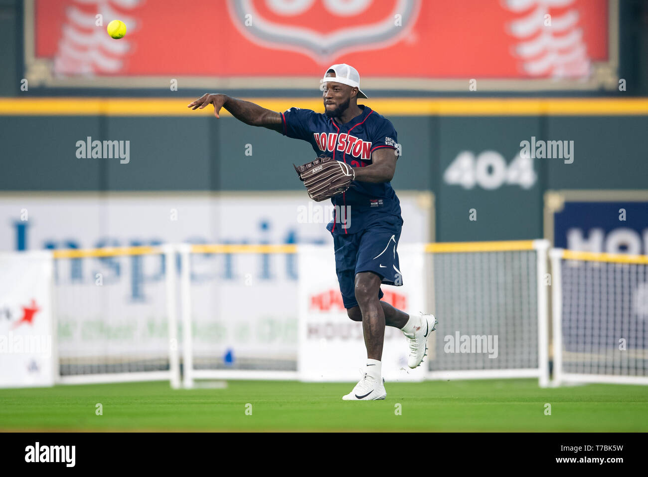 May 04, 2019 Houston Texans cornerback Aaron Colvin (22) during the JJ Watt Charity Classic, a softball game that provides funding for after-school athletic programs enhancing opportunities for middle-school aged children in the community to become involved in athletics, so that they may learn the character traits of accountability, teamwork, leadership, work ethic and perseverance, while in a safe and supervised environment with their peers Maria Lysaker / CSM - Stock Image