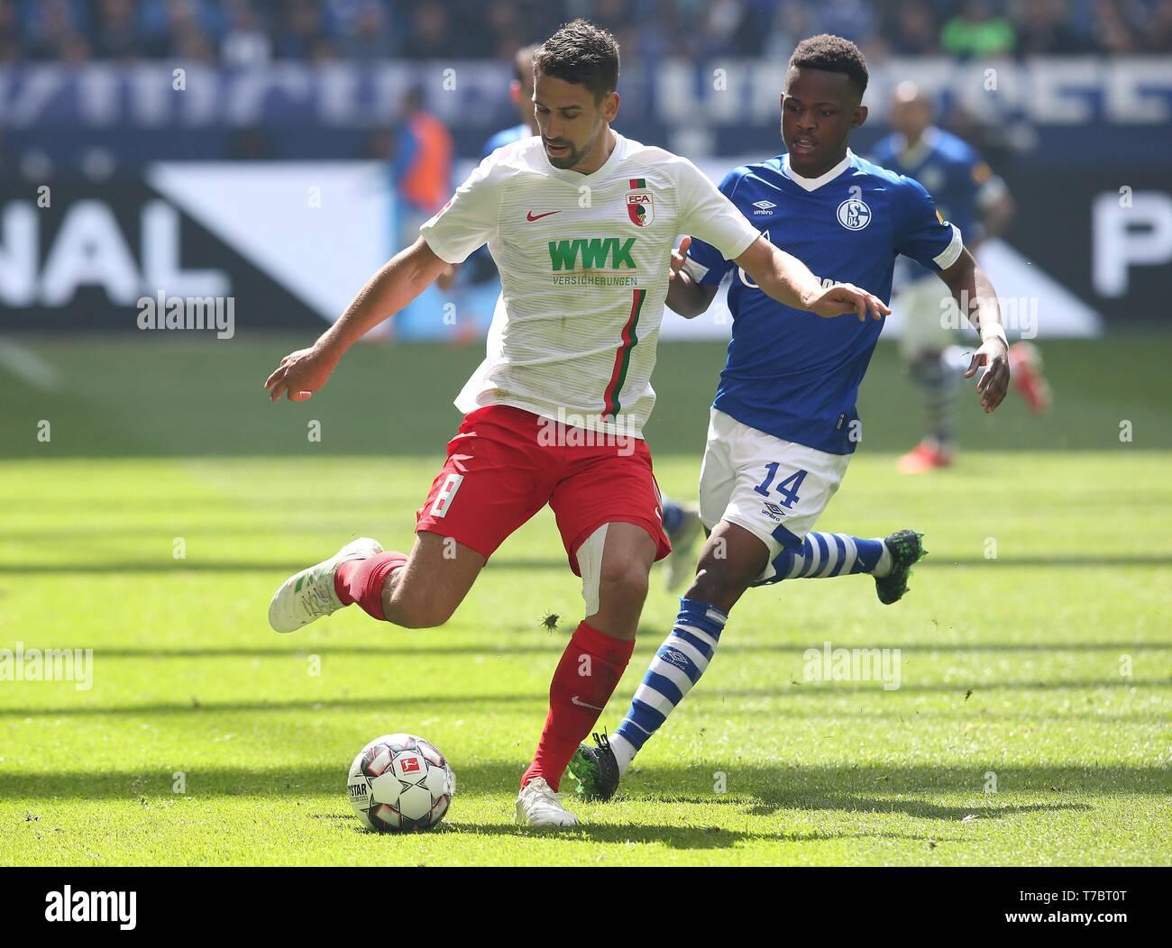 firo: 05.05.2019, Football, 2018/2019, 1.Bundesliga: FC Schalke 04 - FC Augsburg Rani Khedira, single action   usage worldwide - Stock Image