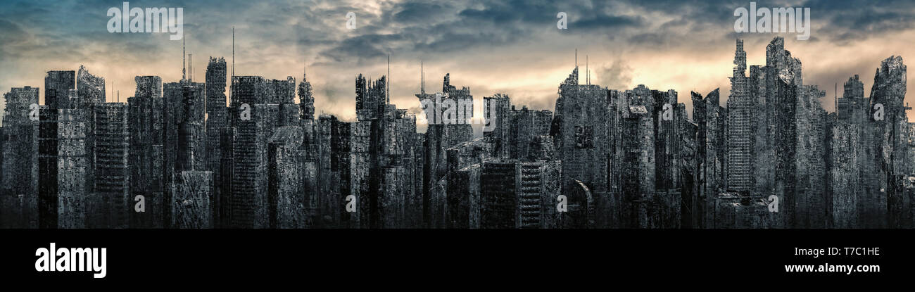 Dystopia city panorama / 3D illustration of futuristic post apocalyptic city ruins under bright sky - Stock Image