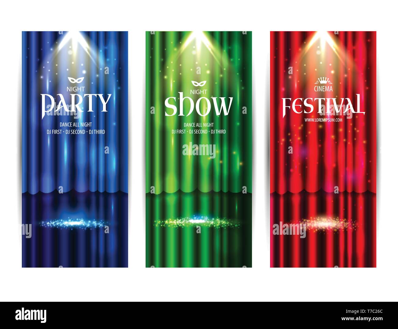 Theatrical background with a colors curtain and a scene. Light on a floor. Vector illustration. Night party banners colors background. - Stock Vector