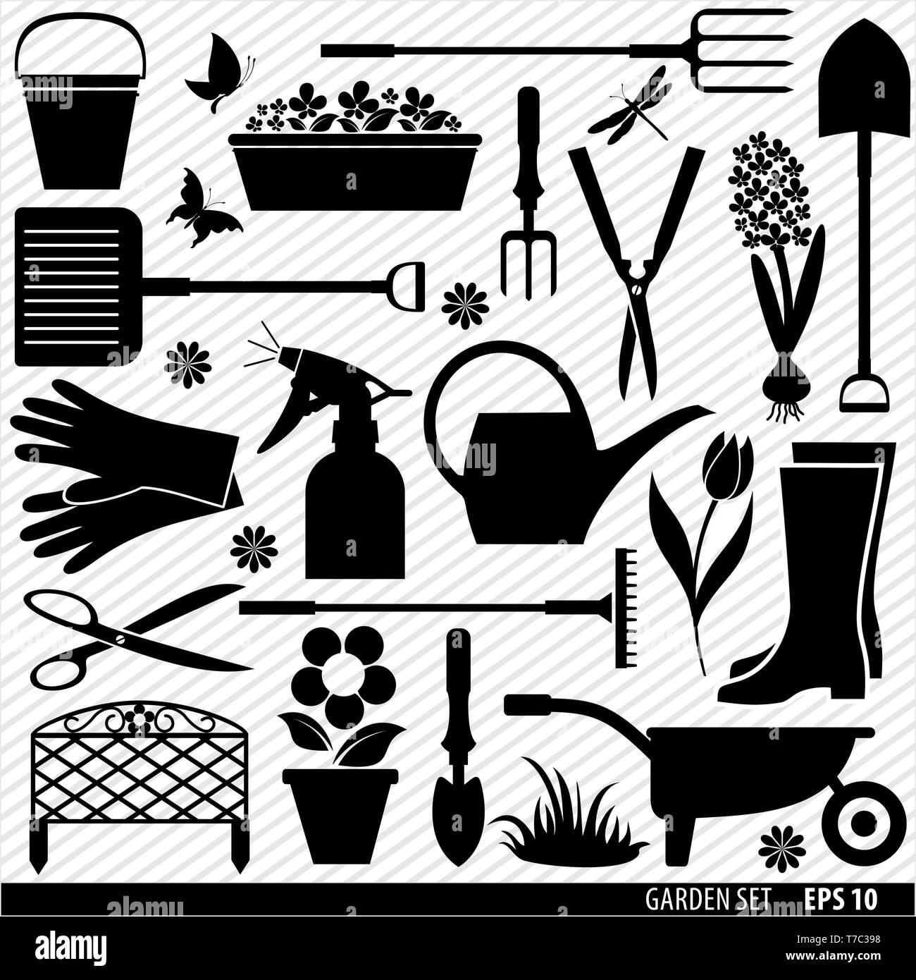 Village tools icon set. Vector stock illustration - Stock Vector