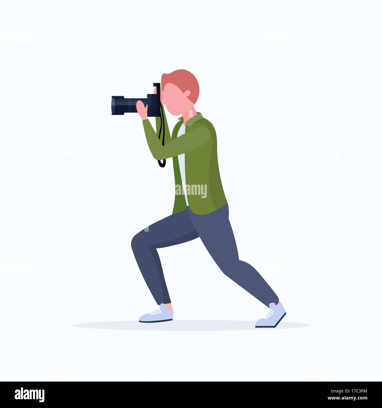 man professional photographer taking photo with camera guy standing and shooting male cartoon character full length flat white background - Stock Image